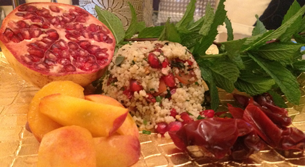 Rustic Couscous Mounds with Peach Wedges