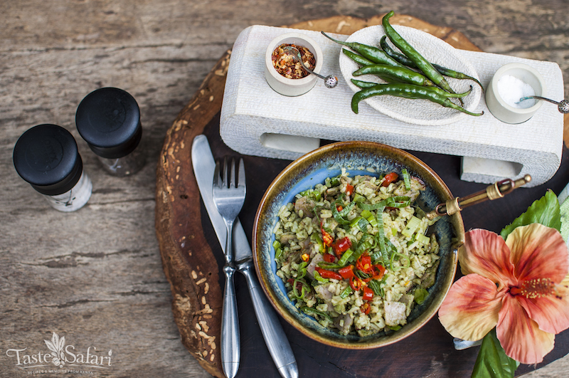 Stir fried Brown Rice with a Pesto and Smoked Ham filling