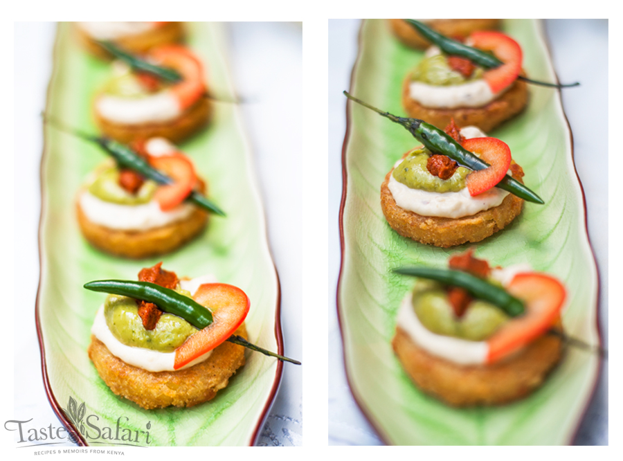 Potato Croquette Cakes with a Hummus, Guacamole and Spice topping